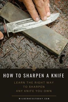 Learn how to sharpen knife the right way by checking out our guide. Discover the correct way to sharpen survival or pocket knife, even in the field. Survival Food, Camping Survival, Survival Knife, Survival Prepping, Survival Skills, Survival Hacks, Survival Stuff, Camping Packing, Survival Weapons