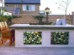 Recycled bottles are imbedded into this outdoor stucco bar and grill. When the light hits the glass just right, the bottles glisten and gleam.