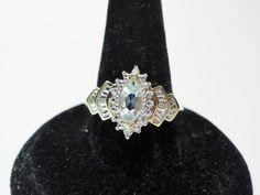 Estate 10k Marquise Aquamarine & Diamond Cocktail Ring - Aquamarine and Diamond Statement Ring 10k - Diamond Aquamarine 10k Cluster Ring by GranvilleGallery on Etsy