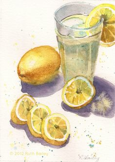# 17 of 120 Paintings – Lemonade Watercolor Food, Watercolour, Lemon On Face, Food Spot, Food Illustrations, Weekend Is Over, Painting Inspiration, Lemonade, Lime