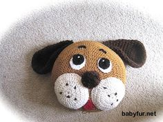 Crochet PATTERN, Pillow Pattern, Dog Pillow, animal pillow for nursery decor and baby bedding - http://babyfur.net/crochet-pattern-pillow-pattern-dog-pillow-animal-pillow-for-nursery-decor-and-baby-bedding.html