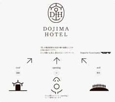 "Dojima Hotel ""堂島ホテルの作り方 ""at Osaka / by GUILD (Interior Design Associates) / The Logo by Tycoon Graphics about the ""roof""+""opening""+""soil"" / Their signature greeting message ""Dojima Makes Your Day"". A sleek, uber-cool, chic, yet relaxing boutique hotel centrally located in Osaka."