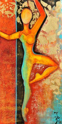 Die Seiltänzerin Acryl auf Leinwand 100 x 50 Die Innere Balance zu halten, durchs Leben zu Tanzen, sich als inneren Raum zu spüren