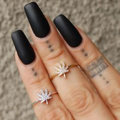 Dainty weed leaf knuckle rings. Get the cutest cannabis smoking accessories and jewelry at www.shopstaywild.com