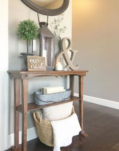 Small Entryway Table Ideas - Best Entry Table Decor Ideas: How To Decorate A Foyer Entryway Table For A Perfect Front Door Entrance Area ideas small entrance 67 Best Entry Table Decor Ideas: Cute Foyer Entrance Tables Guide) Diy Apartment Decor, Rooms Home Decor, Cheap Home Decor, Living Room Decor, Apartment Living, Apartment Ideas, Apartment Design, Apartment Door, Cozy Apartment