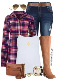 Plus Size Layered Flannel Outfit - Alexa Webb Flannel Shirt Outfit, Flannel Outfits, Cute Outfits, Flannel Shirts, Fashionable Outfits, Mom Outfits, Grunge Outfits, Tee Shirts, Stylish Plus Size Clothing