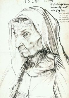 Albrecht Durer Portrait of the Artist's Mother, , Staatliche Museen, Berlin. Read more about the symbolism and interpretation of Portrait of the Artist's Mother by Albrecht Durer. Albrecht Durer, Renaissance Kunst, Italian Artist, Drawing Lessons, Oeuvre D'art, Great Artists, Painting & Drawing, Art History, Printmaking