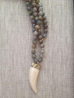 Beaded Horn Necklace Labradorite by BentbyCourtney on Etsy