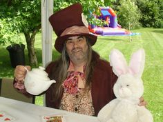 Tea Party, Mad Hatters Tea Party, Tea Pot,Pink Rabbit at the Dorothy Clive Garden in Staffordshire