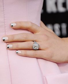 Two-Tone Tips    Jessica Biel has become a new star of nail art, and this pink look with a metallic tip turned the whole moon manicure on its head. Not only was this look gorgeous and understated, but it's easy to re-create by using halved reinforcement stickers as guides.
