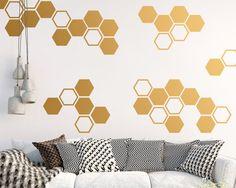 Large Honeycomb Wall Decals  Hexagon Vinyl by KennaSatoDesigns