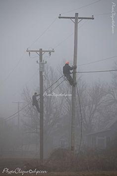 I am a lineman./Atmospheric Scene of Line Crew in the Fog/Landscape/Fine Art Photography Print Power Lineman, Water Powers, Glass Insulators, Edgar Degas, Fine Art Photography, Life Is Good, Waves, Scene, Wall Art