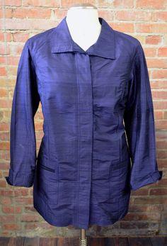 CHICO'S Dark Sapphire Blue 100% Silk Long Blazer Jacket Women's Sz 16 (Chicos 3) #Chicos #Blazer