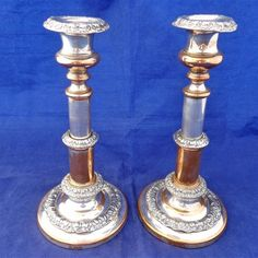 Pair Antique Georgian Telescopic Old Sheffield Plate Candlesticks T.Dixon c 1784