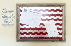 DIY Chevron Magnetic Bulletin Board | includes a full tutorial on how to create this project