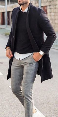 Solid Color Medium Length Blazer Coat Men's casual and comfy coats for fall and winter, fashion styl Trendy Mens Fashion, Stylish Men, Men Fashion, Fashion Trends, Winter Mode Outfits, Winter Fashion Outfits, Fall Fashion, Blazer Coat Mens, Business Casual Attire For Men