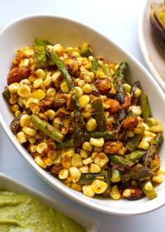 Warm chipotle maple corn asparagus spring salad