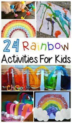Beautiful and Engaging Rainbow Activities for Kids. Rainbow Activities for Toddlers, Preschoolers and Kindergarten with Rainbow Science, Sensory Play, Rainbow Art and Crafts, plus Rainbow STEM ideas and so much more. Rainbow Activities, Weather Activities, Rainbow Crafts, Spring Activities, Color Activities, Science Activities, Preschool Activities, Montessori Preschool, Preschool Lessons