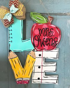 Teacher Door hanger, teacher, teacher gift, classroom decor, school, teacher decor, class decor, pencil paper door hanger