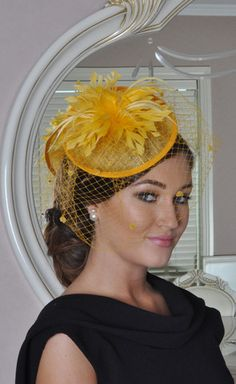 Julie Yellow Fascinator