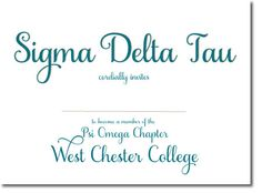Classy Sigma Delta Tau Bid Day Invitations. Custom Bid Day cards for sorority recruitment. http://www.trulysisters.com/sigma-delta-tau-sorority/bid-day-cards/invitation-style-a/