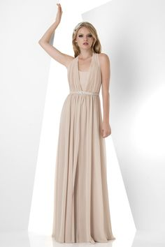 Halter Floor Length Chiffon Champagne A Line Bridesmaid Dress
