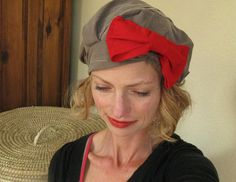 Women's Beret. Flapper Hat. Retro Hat. 20's Women's Cap. Red Bow Hat. Cotton Hat. Holiday Hat. Holiday Party Accessory.. $45.00, via Etsy.