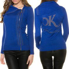 47a8764401d7 Pull cardigan femme fashion fermeture éclair JULIA couleur bleu royal