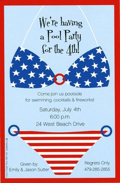 4th Of July Pool Party Invite Cody Pools