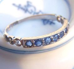 Exquisitely Detailed Sapphire Engagement Ring or Wedding Band. Vintage Art Deco. White Gold and Platinum.  Something Blue ...... $800.00, via Etsy.