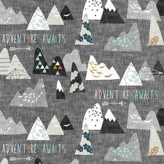 Adventure Awaits (charcoal) SMALL fabric by nouveau_bohemian on Spoonflower - custom fabric