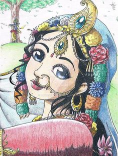 Traditional: Srimati Radharani smile_colored by on DeviantArt Girl Drawing Sketches, Girly Drawings, Art Drawings Sketches Simple, Shiva Art, Krishna Art, Radhe Krishna, Lord Krishna, Krishna Drawing, Krishna Painting