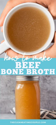 The best Homemade Beef Bone Broth Recipe that is SO easy to make. Learn how to make bone broth from scratch that is healthy and nutritious. Make it in the crockpot or the instant pot - either way is delicious! Homemade Beef Broth, Homemade Sauce, Healthy Beef Recipes, Keto Recipes, Drinking Bone Broth, Beef Bone Broth, Beef Bones, Healthy Comfort Food, Instant Pot