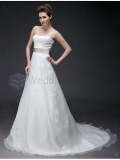 A-line Sweetheart Satin Organza Court Train Wedding Dress with Sashes Ribbons and Bow