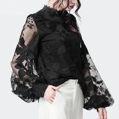 Black Chiffon Blouse, Chiffon Blouses, Types Of Sleeves, Sleeve Styles, Autumn Fashion, Womens Fashion, Long Sleeve, How To Wear, Shirts