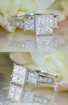 """Adorable: Diamond """"Illusion Style"""" Ring, 1,43 cts. G-SI/VSI, WG-18K -- Find out: schmucktraeume.com - Visit us on FB: https://www.facebook.com/pages/Noble-Juwelen/150871984924926 - Any questions? Contact us: info@schmucktraeume.com"""