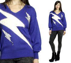 80s Sequin Lightning Bolt Sweater, SohoBohoVintage, $35.00