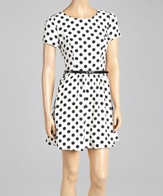 Look what I found on #zulily! White & Black Polka Dot Belted Dress by Andrée #zulilyfinds