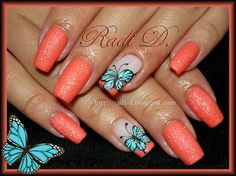 Blue Butterflies by RadiD from Nail Art Gallery Fabulous Nails, Gorgeous Nails, Pretty Nails, Nice Nails, Butterfly Nail Designs, Cute Nail Designs, Hot Nails, Swag Nails, Nail Atelier