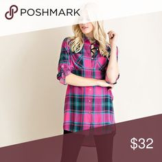 High Side Slit Button Down Top High Side Slit Button Down Top, Magenta, 100% Rayon Entro Tops Button Down Shirts
