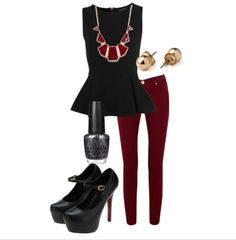 Black peplum top with colored jeans