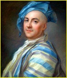 """Jean-Louis Lambert (1699-1742) France """"Autoportrait en robe d'intérieur de soie rayée"""" 1742 pastel sur papier marouflé sur toile 61 x 51 cm collection privée"""