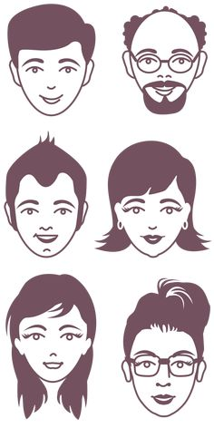 Male and female faces -vector illustrations free clip art