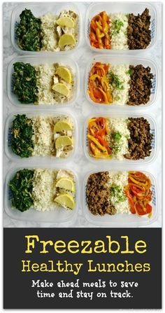 Healthy Recipes Freezable healthy lunches will help you stay on track and save you time. Two lunch ideas with recipes. - These freezable healthy lunches will help you stay on track and save you time. Two delicious and healthy lunch ideas with recipes. Freezable Meal Prep, Lunch Meal Prep, Healthy Meal Prep, Healthy Cooking, Healthy Lunches, Healthy Eating, Freezable Recipes, Lunch Foods, Healthy Freezer Meals