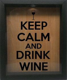 """Wooden Shadow Box Wine Cork/Bottle Cap Holder 9""""x11"""" - Keep Calm and Drink Wine with Glass (Ebony) Wicked Good Candle and Decor http://www.amazon.com/dp/B00O6HXM94/ref=cm_sw_r_pi_dp_9P5tub1GXNVZT"""