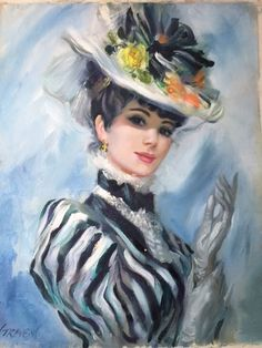 E-Pattern Vintage Oil Paintings Cross Stitch Pattern 01 Victorian Art, Victorian Women, Illustrations Vintage, Illustration Art, Vintage Pictures, Vintage Images, Vintage Prints, Vintage Art, Vintage Ladies
