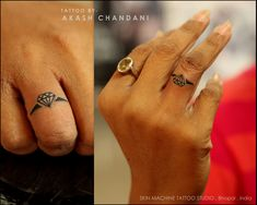 Cutest Diamond Ring Tattoo by Akash Chandani , Pretty awesome and detailed work ! Design concept by my student - Naina Thanks for Looking, Your Views,Comments and Shares would be appreciated ! For more information visit and like us at - Skin Machine Tattoo Studio . Bhopal . India