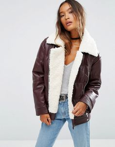 Image 1 of ASOS Faux Leather Padded Jacket with Aviator Styling and Borg Liner