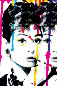 24x36 hand signed abstract audrey hepburn pop art on rolled canvas.: