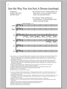 Just The Way You Are/Just A Dream (arr. Deke Sharon) Sheet Music